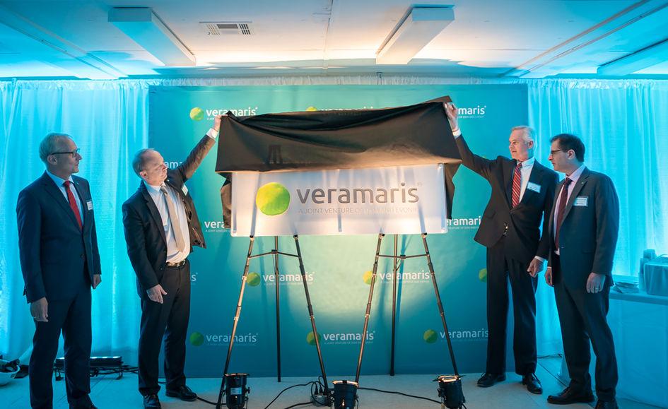 Veramaris celebrated half-time for its algal oil plant in Blair, Nebraska, as construction is on schedule: Reiner Beste (Evonik), Christoph Goppelsroeder (DSM), Lieutenant Governor of Nebraska Mike Foley, and Karim Kurmaly (Veramaris).