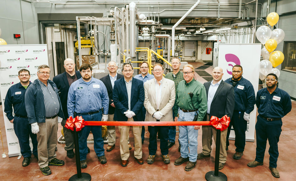 Production team and operators responsible for the successful installation of the new compounding line proudly celebrate the grand opening. From left: James Godwin, Mike Blokland, Terry Gibbs, Greg Hutcheson, Jim Bunn, Derek Beyer, Mitchell George, Scott Hopkins (Project Manager), Robert Dickson, Paul Burks, Josh Alley, Greg Watson, Aaron Rogers.